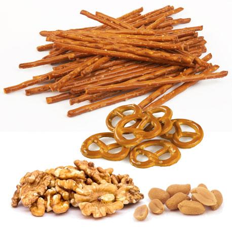 Nüsse und Salzgebäck