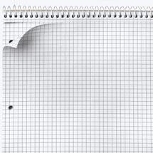 Ein Collegeblock an dem mit Hilfe der Perforation ein Blatt gelöst wurde