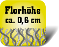Piktogramm mit Auschrift Florhöhe ca. 0,6 Zentimeter