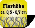 Piktogramm mit Auschrift Florhöhe ca. 0,5 bis 0,7 Zentimeter