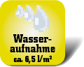 Piktogramm mit Auschrift Wasseraufnahme ca. 6,5 Liter pro Quadratmeter