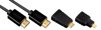 Hama HDMI-Kabel Typ A mit Adapter auf Mini- und Micro-HDMI