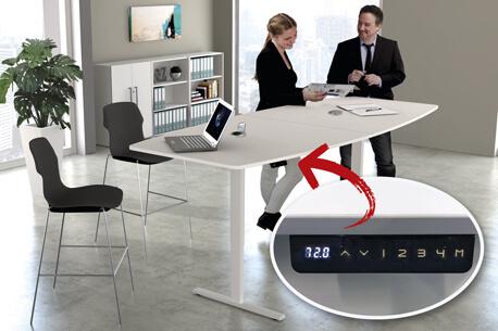 Elektrisch höhenverstellbarer Konferenztisch in Tonnenform