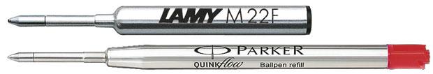 zwei verschiedengroße Kugelschreiberminen