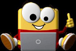 Odi sitzt hinter einem Laptop