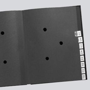 Zwischenblätter aus Spezialkarton mit Sichtloechern