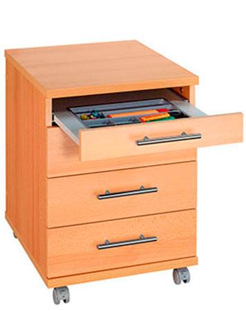 Holz-Rollcontainer mit geöffneter Schublade