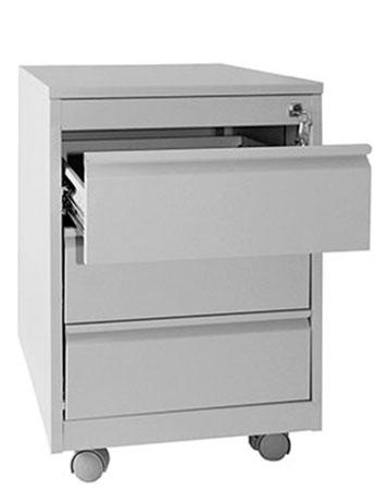 Metall-Rollcontainer mit geöffneter Schublade