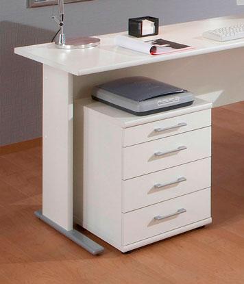 Rollcontainer unter einem Schreibtisch, der zusätzlich als Ablage für einen Scanner dient