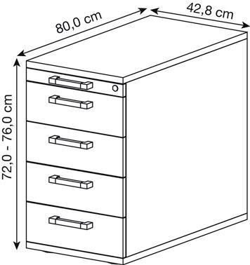 Zeichnung eines Rollcontainers mit Bemaßung