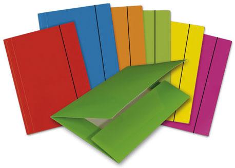 Verschiedenfarbige Sammelmappen fächerförmig dargestellt