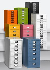 Abbildung mit vielen verschieden farbigen Schbladencontainern