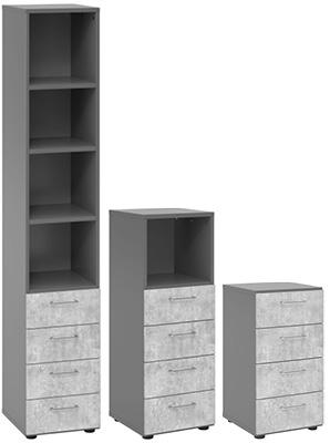 Drei unterschiedlich hohe Schubladenschränke
