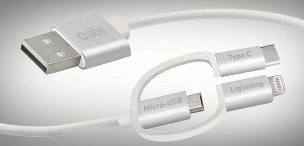 USB-Typ-A-Kabel auf für Micro-USB mit Adapter auf USB Typ C und Lightning