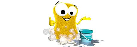 Mr. Cleany beim Putzen