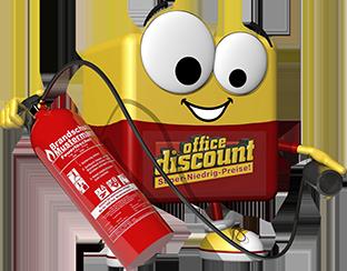 office discount Maskottchen Odi mit einem Feuerlöscher