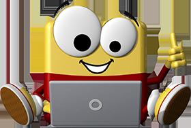 office discount Maskottchen sitz hinter einem Laptop
