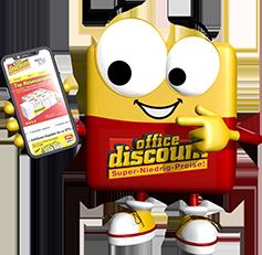 office discount Maskottchen Odi zeigt auf sein Handy