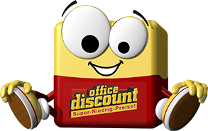 office discount Maskottchen Odi sitz auf dem Boden