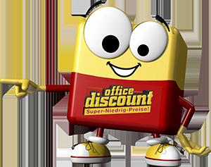 office discount Maskottchen Odi zeigt auf die Info