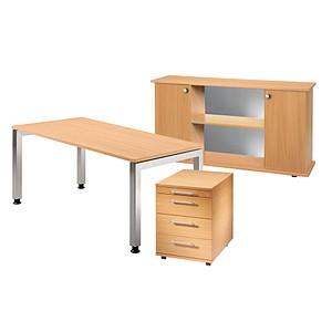 7e9439baa652dd HAMMERBACHER Büromöbel-Set Prokura buche rechteckig günstig online ...