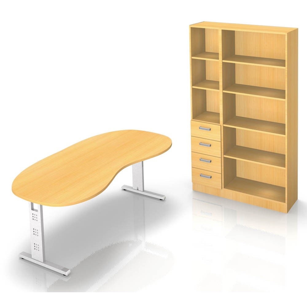 HAMMERBACHER Büromöbel-Set Gradeo buche Nierenform günstig online ...