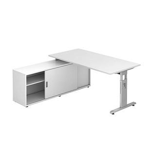 Hammerbacher Höhenverstellbarer Schreibtisch Weiß Rechteckig Günstig