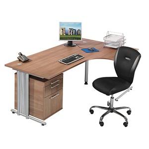 386613ec8c8432 HAMMERBACHER Büromöbel-Set Prokura nussbaum L-Form günstig online ...