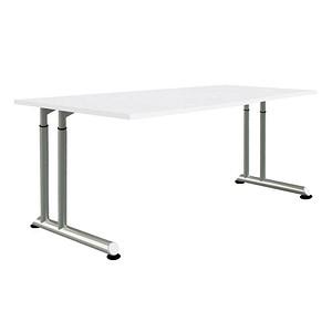 Wellemöbel Höhenverstellbarer Schreibtisch Hyper Weiß Trapezform