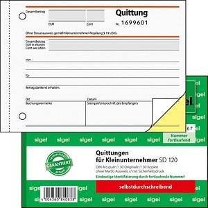 Sigel Formularbuch Sd120 Quittung Für Kleinunternehmer Ohne Mwst