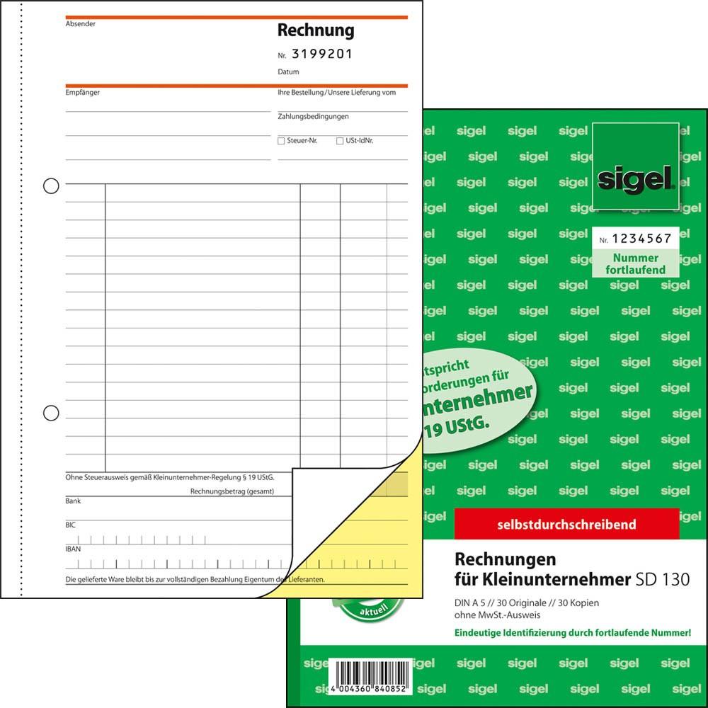 Sigel Formularbuch Sd130 Rechnung Für Kleinunternehmer Mit